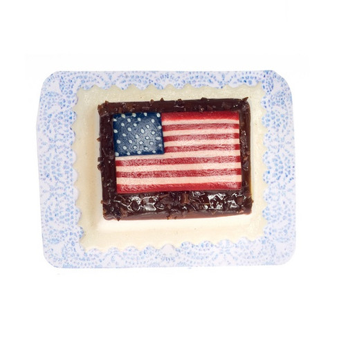 Dollhouse Miniature American Flag Sheet Cake