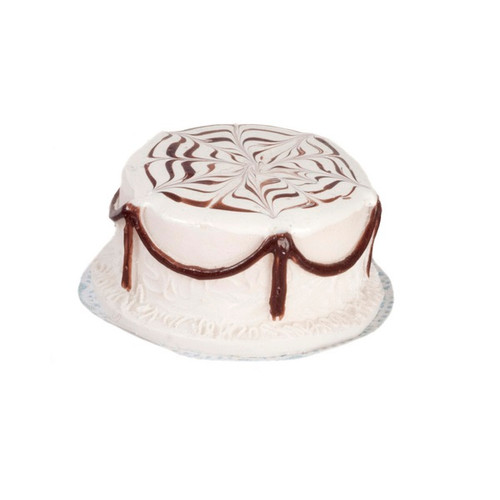 White Layer Cake with Chocolate Designs