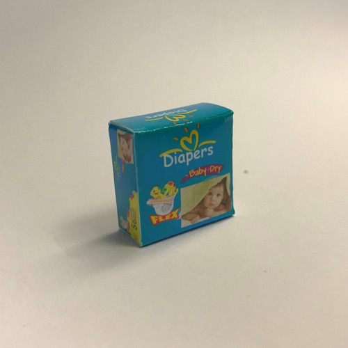Dollhouse Miniatures Baby Diapers (blue box)