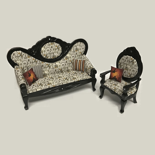 Dollhouse miniature Halloween toile sofa and arm chair set