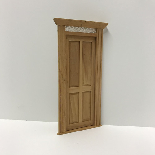 Dollhouse Miniature Four-Panel Door w/ Textured Glass Transom Light (UFN0496), shown closed