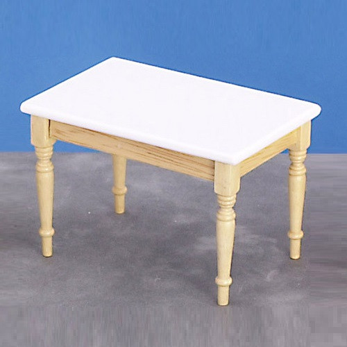 Dollhouse Miniature Kitchen Table, White/Oak (AZM2009)