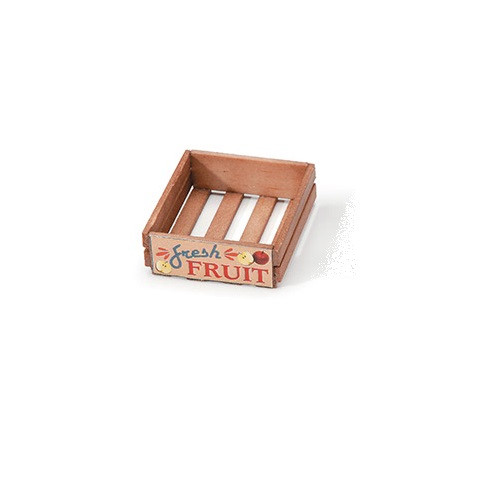 One-inch (1:12) Scale Empty, Stained Wooden Fruit Crate Dollhouse Miniature