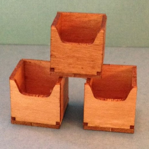 Image of three cube storage boxes (kit) shown with maple finish