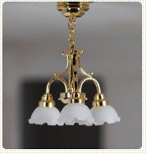 SUTC7S - Miniature Three-Arm Brass Battery-Operated Chandelier (LED)