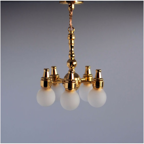 SUTC42S - Five-Arm, Battery-Operated, Dollhouse Chandelier (LED)