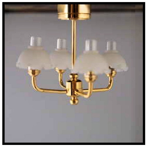 SUTC5S - Four-Arm, Brass Battery-Operated, Dollhouse Chandelier (LED)