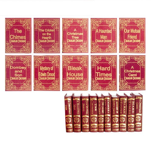 Charles Dickens Book Set (NI134) in one-inch (1:12) scale dollhouse miniature