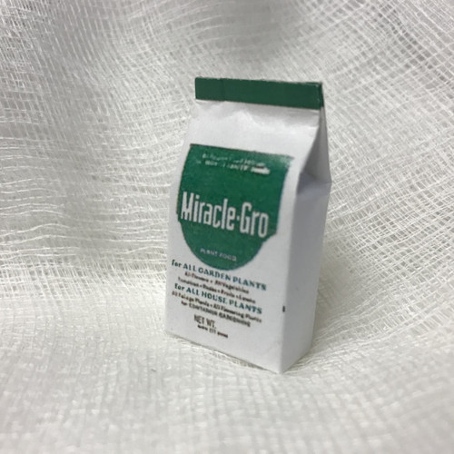 One-inch scale replica Miracle-Gro bag