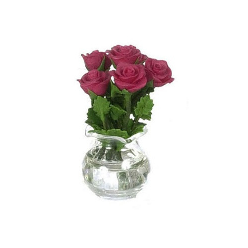 Roses In Glass Vase, Red (FCA2567RD)