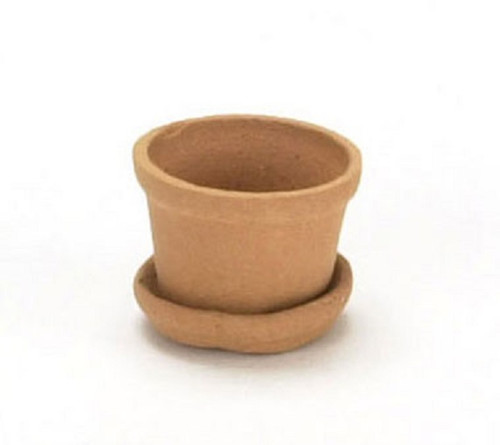 Dollhouse Miniature Terra Cotta Pot with Saucer (FCCP7040)