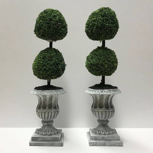Pair Double Ball Topiaries in Pedestal Urns (UFN1009)