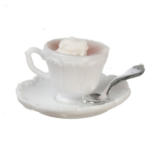 Cup Of Hot Cocoa with Whipped Cream and Spoon On Saucer (CB170)