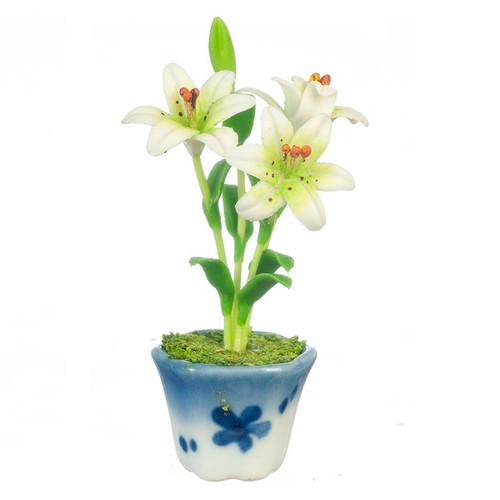White Lilies in Ceramic Pot (AZG6974)