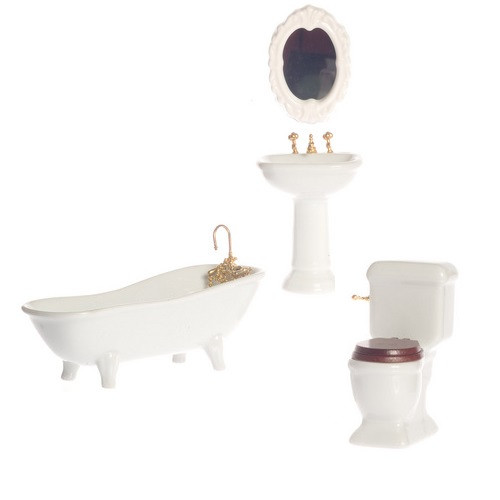White One-inch (1:12) Scale Dollhouse Miniature Porcelain Bathroom