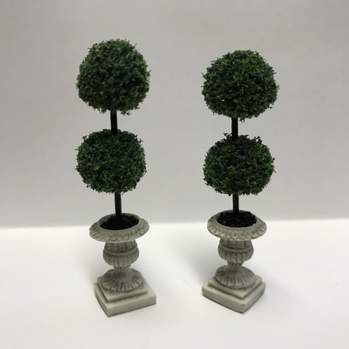 Pair Half-Scale Double Ball Topiaries in Pedestal Urns (UFN1010)