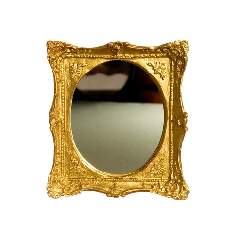 Oval Mirror in Ornate Rectangular Gold Frame (A3358)