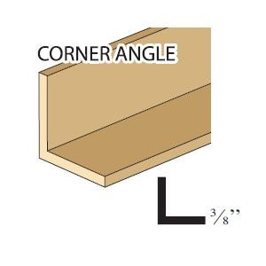 "Illustrated image of 3/8"" corner angle wood trim"