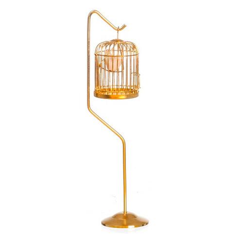 1:12 Scale Dollhouse Miniature Brass Birdcage w/Bird on Stand (AZD4751A) white background