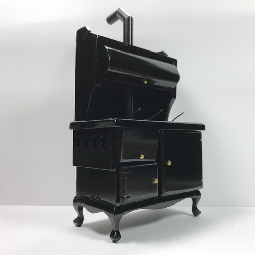 1:12 Scale Miniature Black, Wood Cook Stove (T6105)