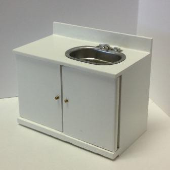 1:12 scale dollhouse miniature White Kitchen Sink (M9031A)