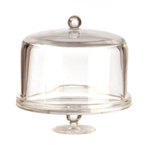 1:12 Dollhouse miniature plastic pedestal style cake stand with domed lid
