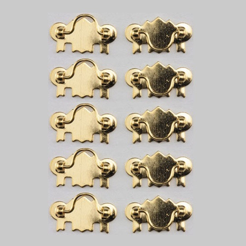 One-inch (1:12) Dollhouse Miniature Brass Drawer Pulls, 10/Pk (CLA00329)