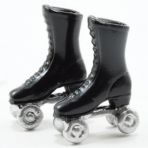 "1"" Scale Dollhouse Miniature Black Roller Skates (MUL721B)"