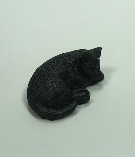 Dollhouse Miniature Black Cat Sleeping (IM65445BK)