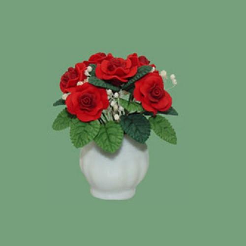 Roses In White Ceramic Pot, Red (F2078) Dollhouse Miniature