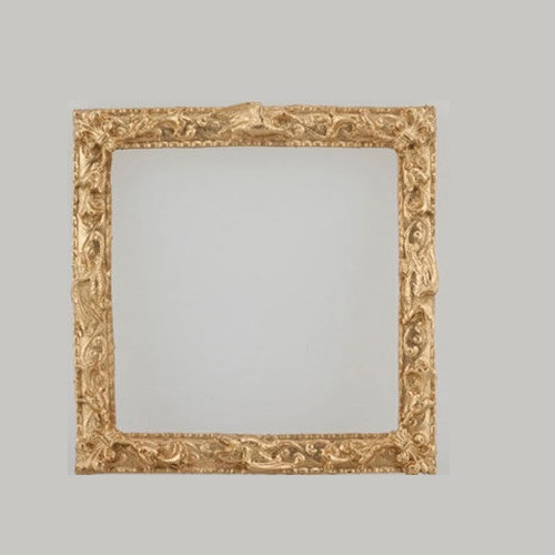 Square, ornate, gold-tone dollhouse miniature picture frame (UMP39)