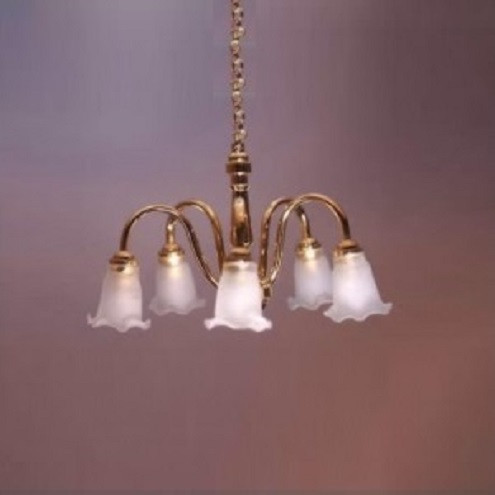 SUTC2S - Five-Arm Battery-Operated Chandelier (LED) Dollhouse Miniature