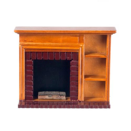 Dollhouse Miniature Fireplace with Shelves, Walnut (AZT6519)