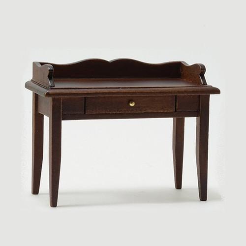 One-inch (1:12) Scale Dollhouse Miniature Desk, Walnut (CLA10011) front angle
