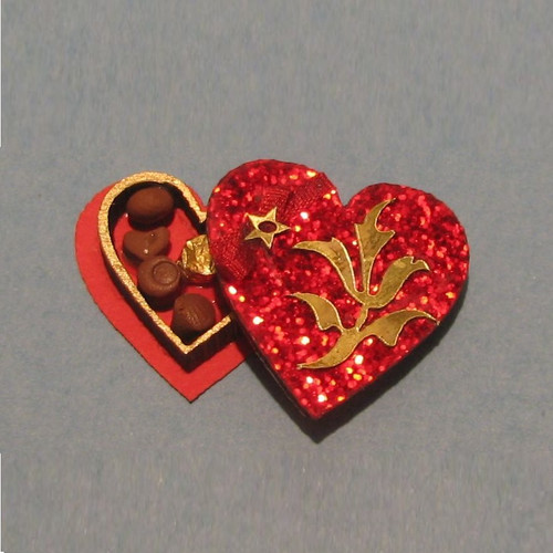 One-inch (1:12) Scale Dollhouse Miniature Heart Shaped Candy Box Kit (DFI-CB201) shown assembled