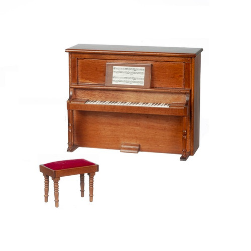One-inch (1:12) Scale Dollhouse Miniature Piano with Bench, Non-Musical, Walnut (AZD7081A)