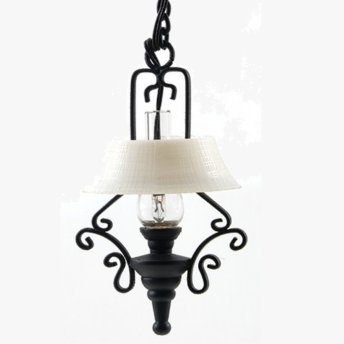One-inch (1:12) Scale Dollhouse Miniature Ornate Hanging Kitchen Lamp (MH1035); shown unlit