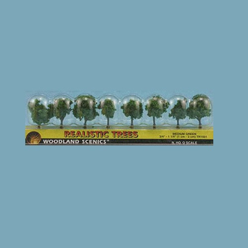 """Package of Eight Medium Green Trees 3/4"""" Tall (WDSTR1501)"""