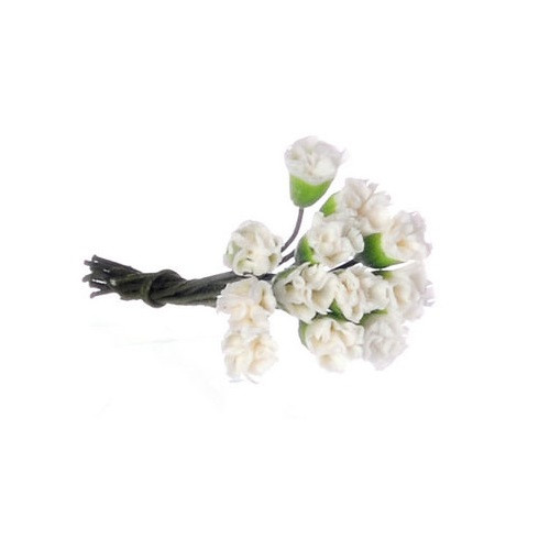 Mini Carnations, 1 Doz White (FCAB8014WH) Dollhouse Miniatures
