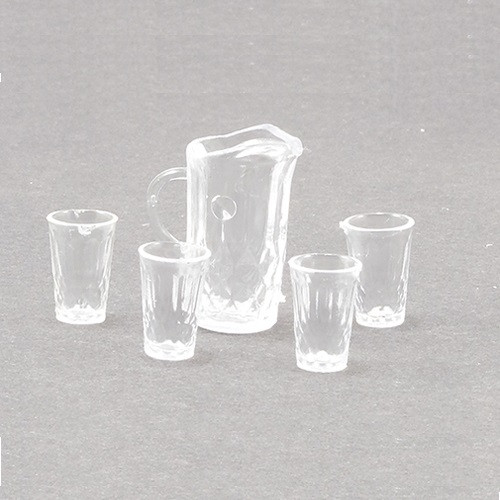 Crystal Pitcher with 4 Tumblers, Kit, Clear (CB092)