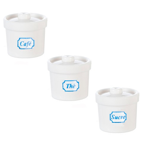 3 Canisters w/Lids, White (AZG7433)