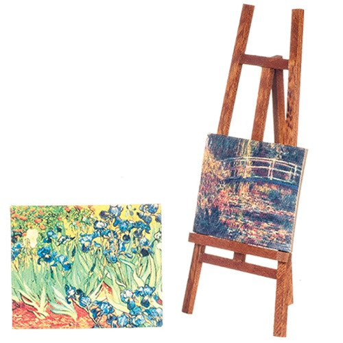 Easel with 2 Canvas Paintings (AZG7924)