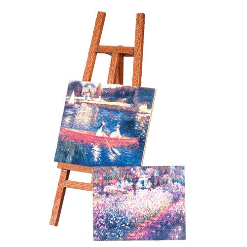 Easel with 2 Canvas Paintings (AZG7925)