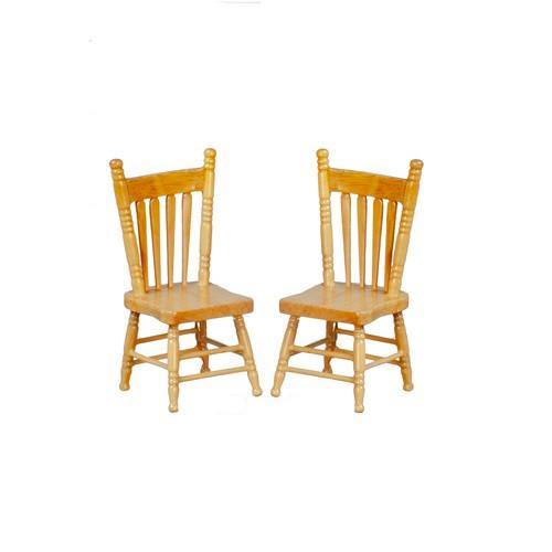 Dollhouse Miniature Oak Chairs, Pair (AZGA0905K)