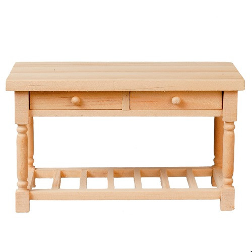 Dollhouse Miniatures Unfinished Wood Working Table (AZT4671)