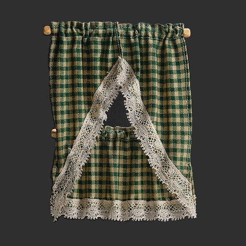 Country Green Dollhouse Curtains (BB51608)
