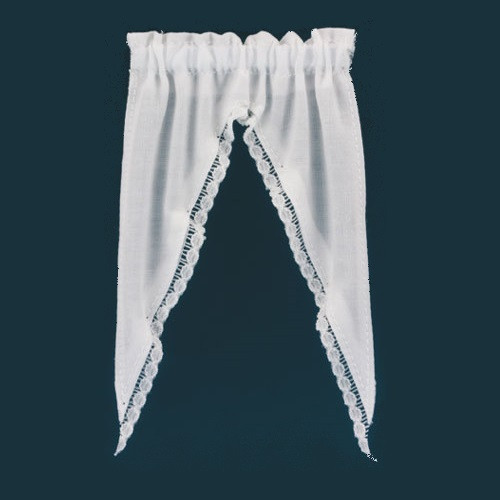 Dollhouse Miniature White Attic Curtain (BB52902)