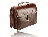 Visconti Front Lock Men Italian Style Attache Case Leather Business Holder Business w/ Lock- VT8.