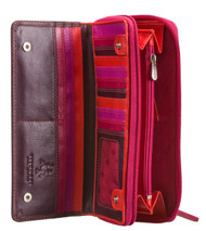 Visconti RB55 Multi Colored Soft Large Checkbook Leather Ladies Wallet Gift Box