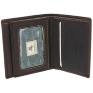 Visconti 710 Distressed Oiled Brown Leather ID Wallet Bifold Card Case Holder